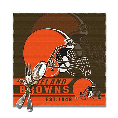 Marrytiny Custom Colourful Placemats Heat Resistant Table Mats Cleveland Browns Football Team 100% Polyester Dining Table Set of 6 Kitchen Coffee Mat 12 x 12 Inch