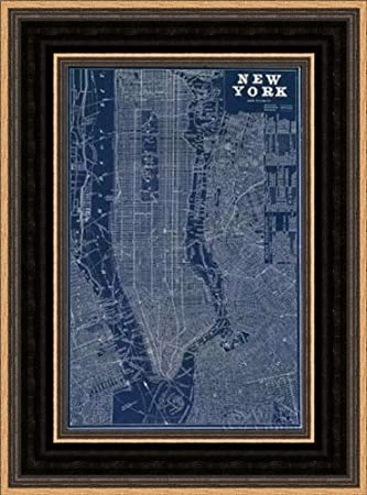 Amazon Blueprint Map New York Framed Art Print 48x48 Fine Art Gorgeous Blueprint Interior Design Painting