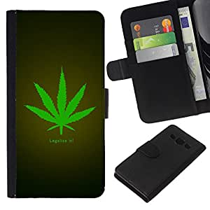 """Be-Star la tarjeta de Cr¨¦dito Slots PU Funda de cuero Monedero caso cubierta de piel Para Samsung Galaxy A3 ( Legalize Cannabis Hemp Weed Verde Herbal"""" )"""