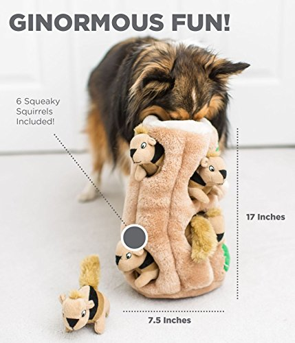 Outward Hound Hide a Squirrel Fun Hide and Seek Interactive Puzzle Plush Dog Toy, 7 Piece, Ginormous