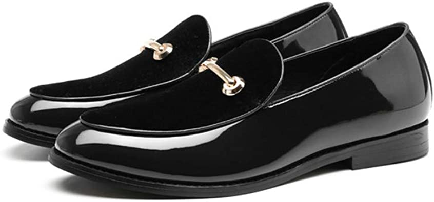 SusanY Comfortable Casual Shoes Mens Loafers Shiny New Mens Shoes Black 6 M US