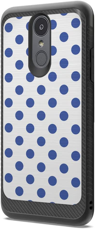 Moriko Case Compatible with LG Aristo 3, 3 Plus, Rebel 4 LTE [Drop Protection Dust Shock Impact Proof Soft Grip Carbon Fiber Protective Black Case Cover] for LG Aristo (Polka Dot Blue)