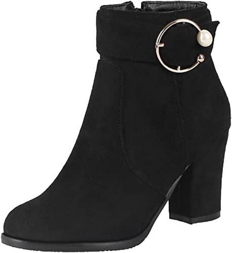 Womens Ankle Boots Block Mid High Heels