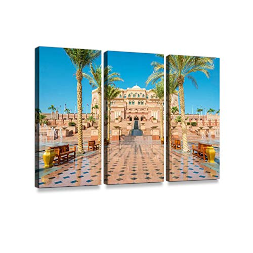 (Emirates Palace Abu Dhabi UAE Print On Canvas Wall Artwork Modern Photography Home Decor Unique Pattern Stretched and Framed 3 Piece)