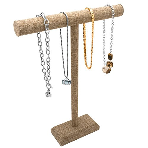 Tall Burlap T-Bar Necklace or Chain - Display Bar T