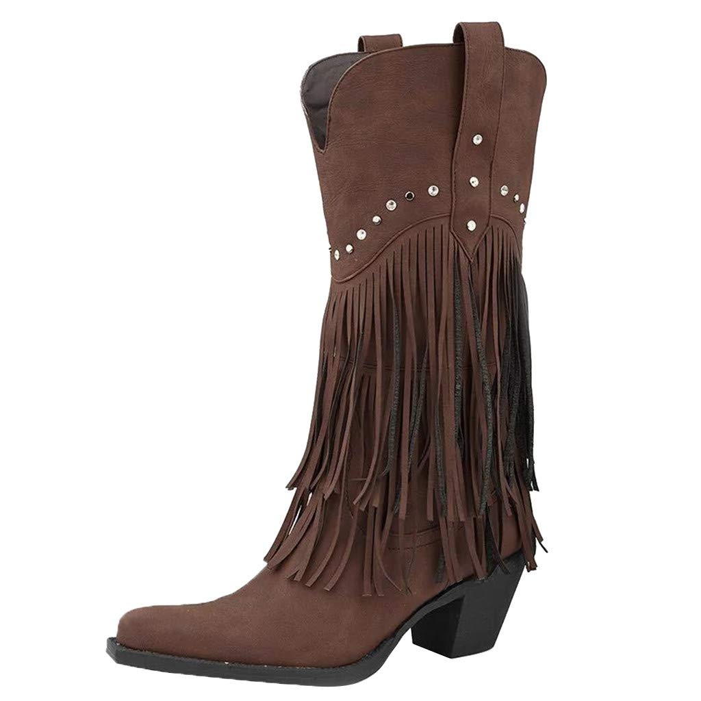 Women Tasse Pointed Toe Low Block Heel Short Boots Mid Calf Waterproof Fringe Rivet Vintage Comfy Boots (US:10, Brown) by Dasuy