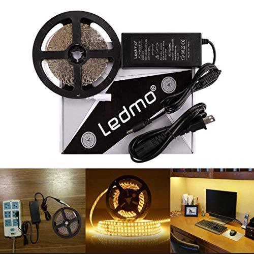 LEDMO LED Light Strip, SMD 2835 Warm White 3000K LED Strip Lights, Dimmable, Non-Waterproof, DC12V 600LEDs 16.4Ft LED Ribbon,LED Tape Ribbon,Decoration Led Ribbon With Power Supply