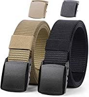 WERFORU Nylon Military Tactical Belt For Men Outdoor Canvas Webbing Belt 1.5 Inches with Plastic Buckle