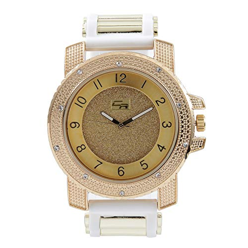 (Iced Oversized Hip Hop Bullet Rubber Band Mens Watch, That Shows Your Lust for Life - Wht/Gld GJM0586)
