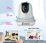 SOTION 960P HD Internet WiFi Wireless Network IP Security Surveillance Video Camera System, Baby and Pet Monitor with Pan and Tilt, Two Way Audio & Night Vision (White)