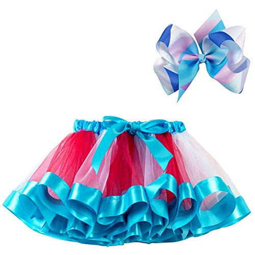 BGFKS Layered Ballet Tulle Rainbow Tutu Skirt for Little Girls Dress Up with Colorful Hair Bows (RWB Rainbow, M,2-4 Age) -