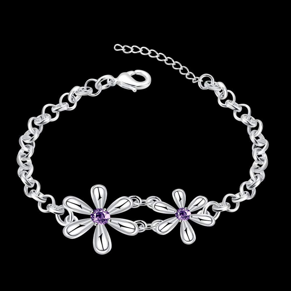 Beautiful and Delicate Bracelet Fashion Zircon Jewelry European and American Silver Plated Creative Floral Bracelet
