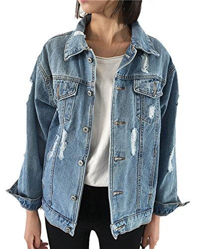 Donna Strappati Casual Jeans Di Denim Sciolto Giacca Come Giubbotto Immagine Monopetto 8d8nfwPqZr