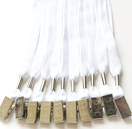 100pcs Flat ID Neck Lanyards for Badges, Bulldog Clip, (All 100pcs White)