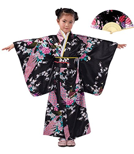 CRB Girls Kimono Japanese Top Robe Sash Belt Fan Set (Height 130cm, Black) -