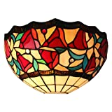 Amora Lighting AM1096WL12 Tiffany Style One Light Floral Wall Sconce Lamp, 12-Inch, Multicolor