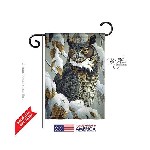 Breeze Decor G155042 Great Horned Owl Garden Friends Birds Impressions Decorative Vertical Garden Flag 13