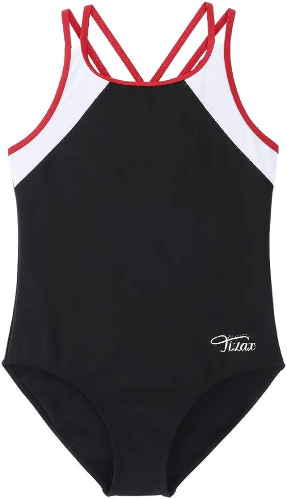 Asciugatura Rapida TIZAX Costume da Bagno Intero per Bambina e Ragazze Cinghie Incrociate Solide Rashguard UPF 50
