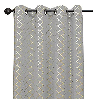 Kashi Home Natalie Printed 54X84 Grommet Blackout Curtain, Cloud/Gold - Perfect Size: the printed blackout curtain measures 54L x 84W Durably Made: this 54x84 grommet curtain is light weight material Made from 100Percent polyester Versatile: this grommet blackout curtains are ideal curtains for bedroom, living room, kitchen, kids room and so on - living-room-soft-furnishings, living-room, draperies-curtains-shades - 510w9voOXfL. SS400  -