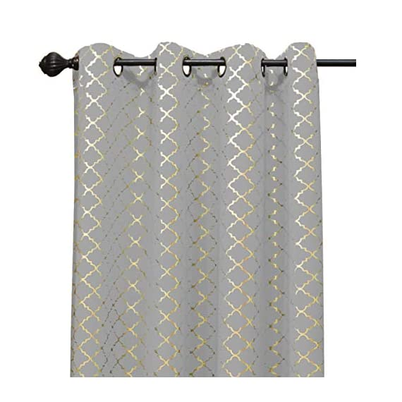 Kashi Home Natalie Printed 54X84 Grommet Blackout Curtain, Cloud/Gold - Perfect Size: the printed blackout curtain measures 54L x 84W Durably Made: this 54x84 grommet curtain is light weight material Made from 100Percent polyester Versatile: this grommet blackout curtains are ideal curtains for bedroom, living room, kitchen, kids room and so on - living-room-soft-furnishings, living-room, draperies-curtains-shades - 510w9voOXfL. SS570  -