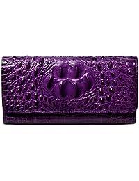 Women Leather Wallet Embossed Crocodile Clutch Wallet Card Holder Organizer