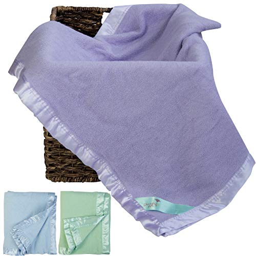 Bamboo Toddler Security Baby Blanket to Snuggle with Your Newborn - Natural Hypoallergenic Purple Throw Blanket with Satin Edging - Perfect Travel Blanket Registry! 34 x 47 inches ()