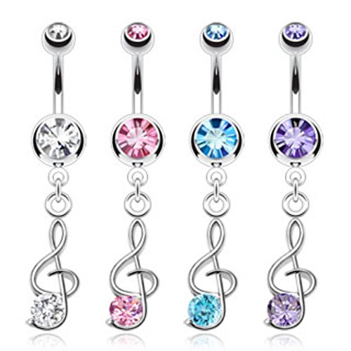 Treble Clef Music Note Dangle Freedom Fashion Navel Ring 316L Surgical Steel (Sold Individually)