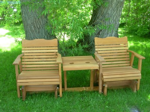 Settee Natural - 6' Natural Cedar Settee Glider, Amish Crafted