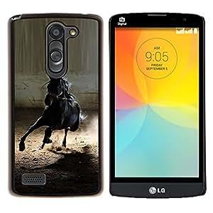 LECELL--Funda protectora / Cubierta / Piel For LG L Bello L Prime -- caballo mustang negro salvaje galope semental --