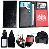 XeYOU Travel Wallet & Passport Holder Soft Leather Passport Cover Case with 2 Matching Luggage Tags and Luggage Strap New (Black)