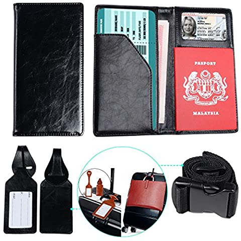XeYOU Travel Wallet & Passport Holder Soft Leather Passport Cover Case with 2 Matching Luggage Tags and Luggage Strap New (Blackberry Passport Clip)