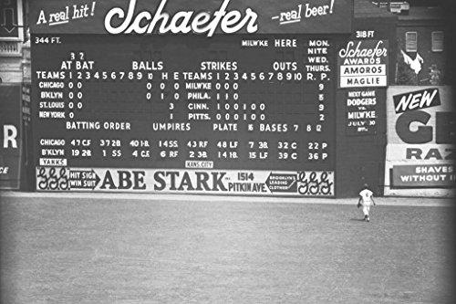 Scoreboard at Baseball Game in Brooklyn B&W Photo Art Print Mural Giant Poster 54x36 ()