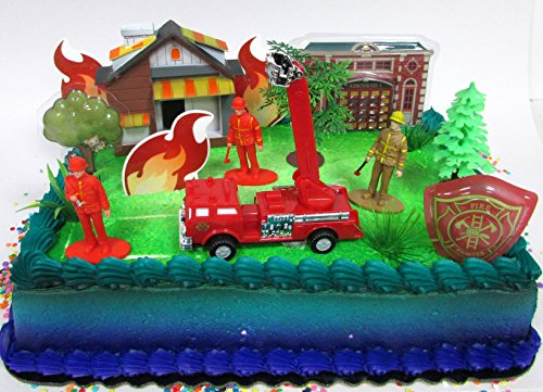 Firefighter Cake - Fireman Themed Birthday Party Cake Topper with Fireman Figures and Decorative Themed Accessories