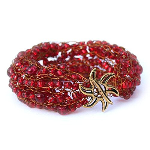 Wire Bracelet Knitted (Nefertiti Bracelet - knitting with wire kit with video course for beginners (Red))