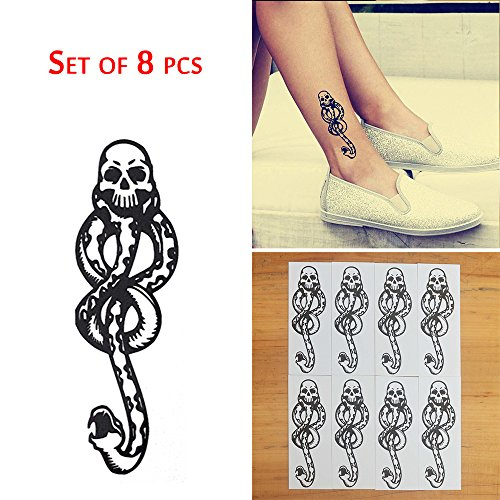 COKOHAPPY 8 Pcs Magic Death Eaters Dark Mark Mamba Snake Temporary Tattoo for Harry Potter Costume Party