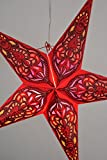 Quasimoon PaperLanternStore.com 24'' Red Meditation Glitter Paper Star Lantern, Hanging Decoration