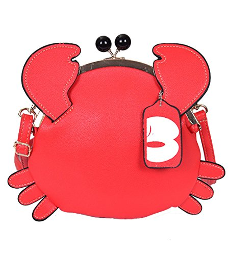 - 2017 Women's PU Crab Ear Clasp Closure Tote Handbag Cute Satchel Cross Body Shoulder Bag (Red)
