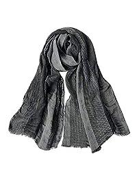 GERINLY Cotton-Linen Scarves Mens Stripe Crinkle Long Scarf (Black)