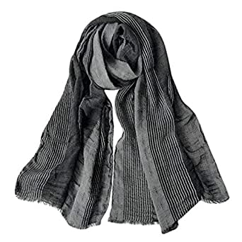 GERINLY Cotton-Linen Scarves Mens Stripe Crinkle Long Scarf (Black)