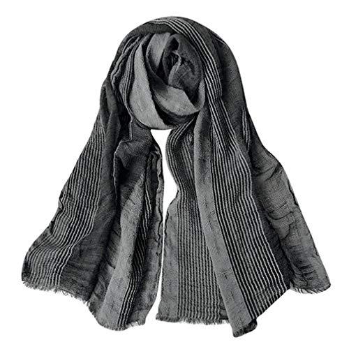 GERINLY Cotton-Linen Scarves Mens Stripe Crinkle Long Scarf (Black) (Mens Dress Scarf)