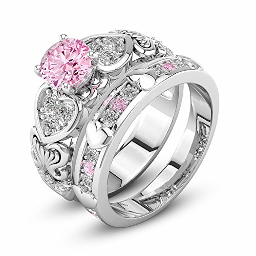 Auwer Rings, 2019 2-in-1 Womens Vintage White Diamond Silver Engagement Wedding Band Ring Set (US Size 6, Pink)