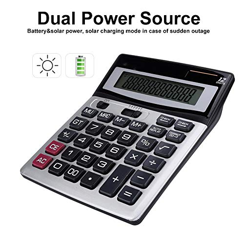 Solar Battery Basic Calculator, 14-Digit Solar Battery Dual Power Office Calculator, Handheld Calculator with Large LCD Display and Large Buttons for Daily and Basic - Battery Digit Lcd Display 14
