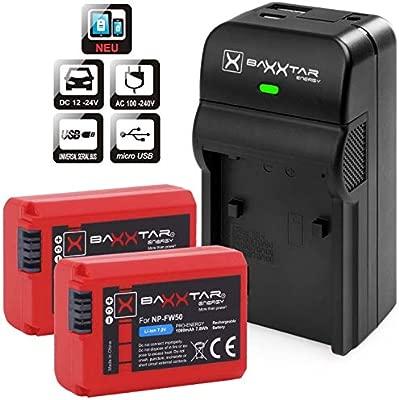 Baxxtar Set - Compatible con batería Sony NP-FW50 - Cargador Razer 600 II con 2X Baxxtar Pro baterías - Salida USB para Otros Dispositivos móviles