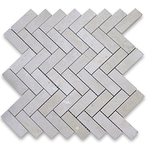 Crema Marfil Spanish Marble 1x3 Herringbone Mosaic Tile P...