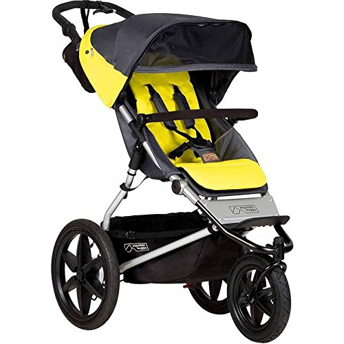 Terrain Jogging Stroller with Reversible Lliners and Retractable Leg Extension, Yellow (Mountain Buggy Jogging Stroller)