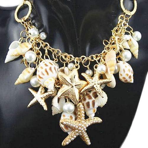 oAtm0eBcl Summer Beach Bib Necklace, Bohemian Women Ocean Sea Shell Faux Pearl Starfish Layered Statement Necklace Jewelry