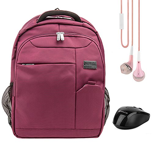 Germini 15.6 Inch Laptop Backpack Daypack for Acer Aspire, Chromebook 15, Asus Aspire E5, ROG, Razer Blade, Toshiba Satellite, Tecra Series 14 inch 15.6 inch Purple with Earbud and Wireless Mouse ()