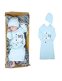 Newborn Baby Boy Sky Blue Long Sleeve Cotton Sleepwear With Hat 2Pcs Set