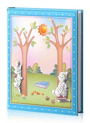 Fotoalbum und Tagebuch – Baby Collection – Linie Märchen – Hellblau – cm 25 x 30 BI Laminat Silber Kunstleder made