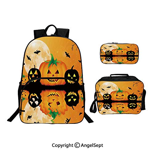 Hot Sale School Backpack For Girls 3 pcs per set,Spooky Carved Halloween Pumpkin Full Moon with Bats and Grave Lake Orange Black,With Lunch Box Pencil Bag Very Convinent -
